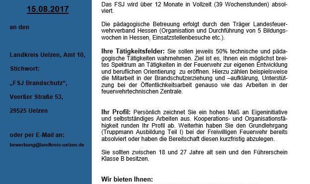 Freiwilliges Soziales Jahr (FSJ) im Bereich des Brandschutzes beim Landkreis Uelzen – Ausschreibung