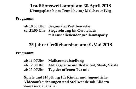 Am 30. April und 1. Mai feiert die FF Rosche-Prielip